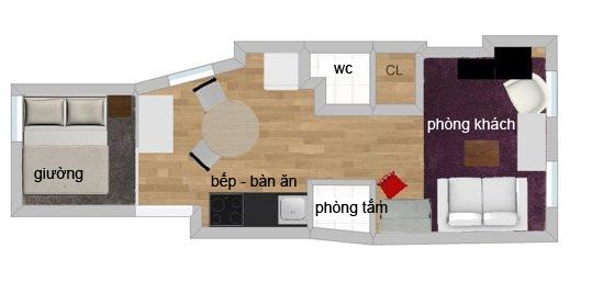 không gian nội thất cho căn hộ 31m2.
