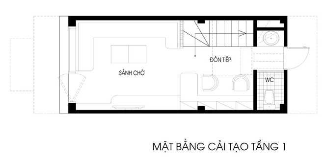 41 e57e Ngôi nhà dạng ống diện tích 26m2 được cải tạo thành nơi ở kết hợp nơi làm việc