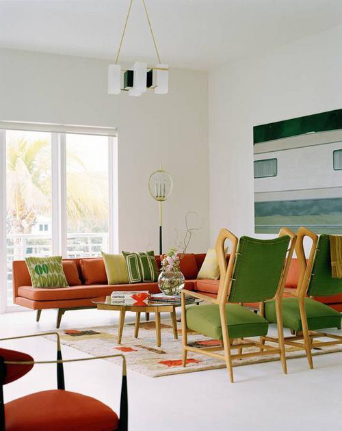 42 8fc8 Những chiếc ghế màu xanh lá mát mẻ cho phòng khách
