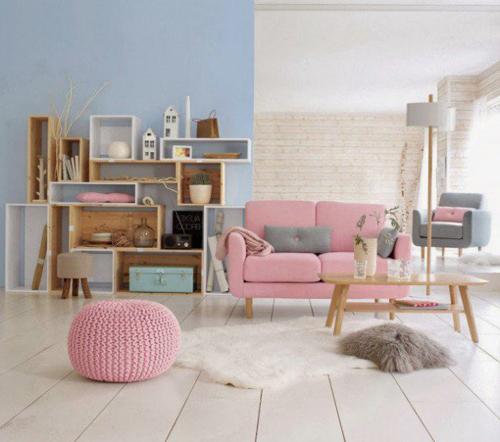 Các tông màu pastel như xanh, hồng, tím nhạt mang lại sự thanh lịch cho ngôi nhà