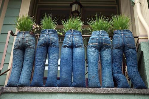Sau khi khâu ống quần lại, bạn nhồi cỏ hoặc các đồ bỏ đi để phần dưới có thể  đứng vững rồi cho đất hoặc đặt bình cây phía trên cạp quần