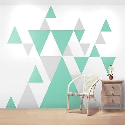 Những gam màu đơn giản được sắp xếp hình tam giác khéo léo giảm bớt sự tẻ nhạt