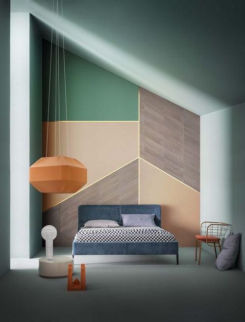 Bức tường với 3 gam màu chính không gây chói mắt nhưng cần chú ý thiết kế đèn hợp lý để căn phòng đủ độ sáng