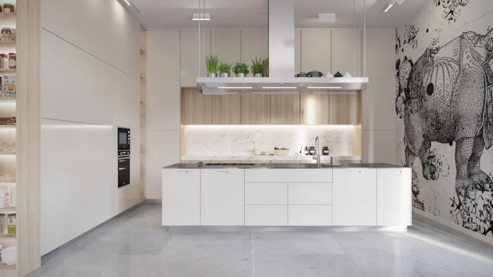 Màu trắng đơn giản trong nhà bếp này