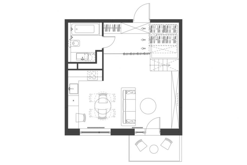 Mặt bằng căn hộ 35 m2