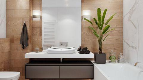 Cây xanh giúp hấp thu bớt lượng khí ô nhiễm trong phòng tắm.
