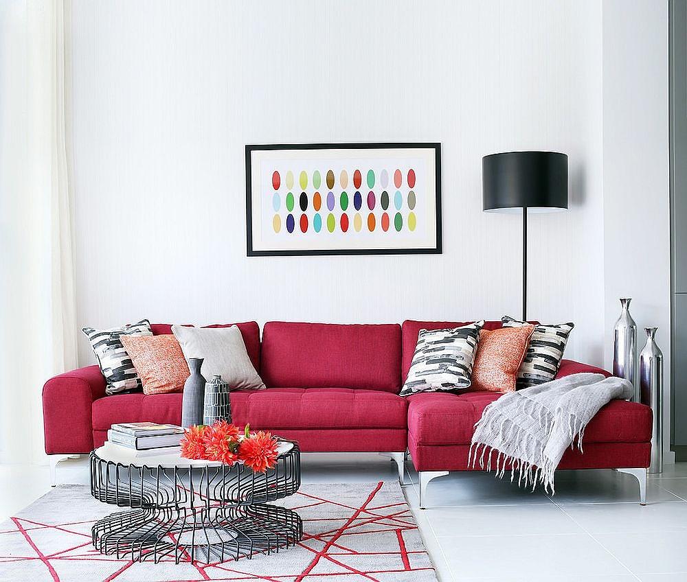 ghế sofa màu đỏ