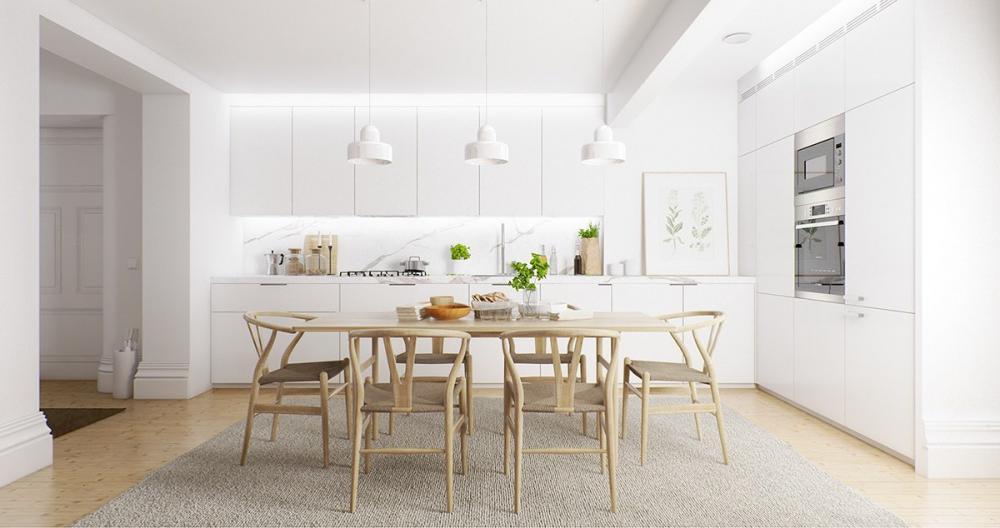 Trong phòng ăn màu trắng chủ đạo, bộ bàn ghễ gỗ đan cói trở thành điểm nhấn sinh động