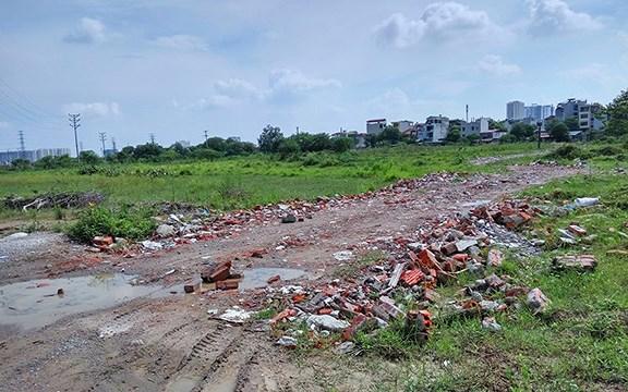 Phần lớn diện tích dự án Khu đô thị Thịnh Liệt đã được GPBM nhưng nay vẫn bỏ hoang, um tùm cỏ dại.