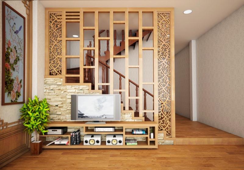 Đối với phòng khách có cầu thang, gia chủ nên sử dụng vách ngăn phân chia không gian.