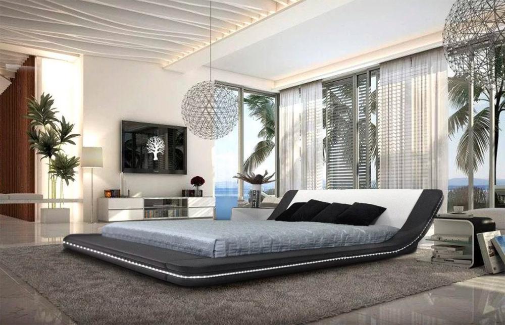 Giường ngủ được bọc bằng da tự nhiên và đèn Led xung quanh thân
