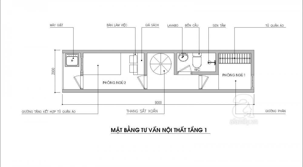 Bản vẽ thiết kế mặt bằng tầng 1 nhà ống 18m2