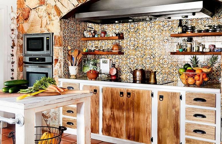 gạch nhấn ở khu bếp nấu