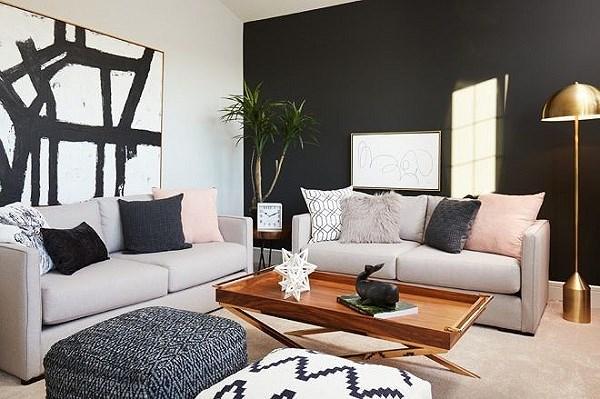 sơn tường màu tối giúp tăng không gian cho ngôi nhà