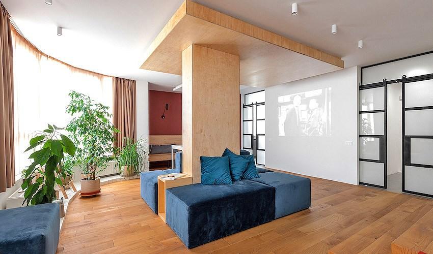 Cách phối màu tinh tế trong ngôi nhà có phòng khách giống rạp chiếu phim