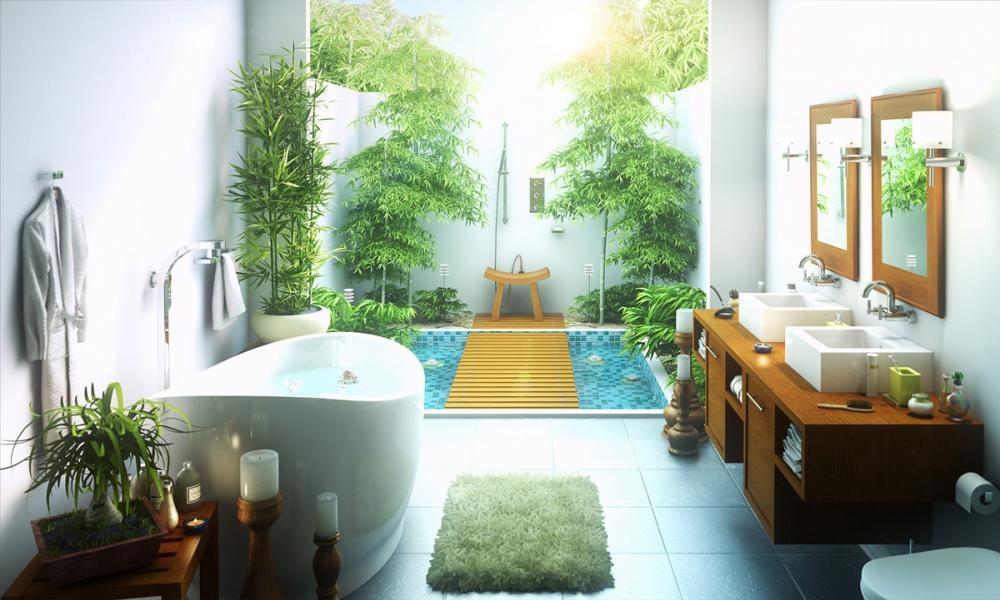 phòng tắm lộ thiên tiện nghi