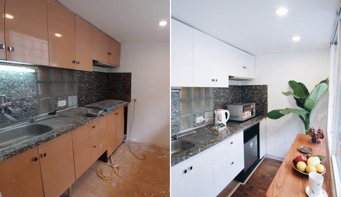 phòng bếp căn hộ tập thể như bừng sáng