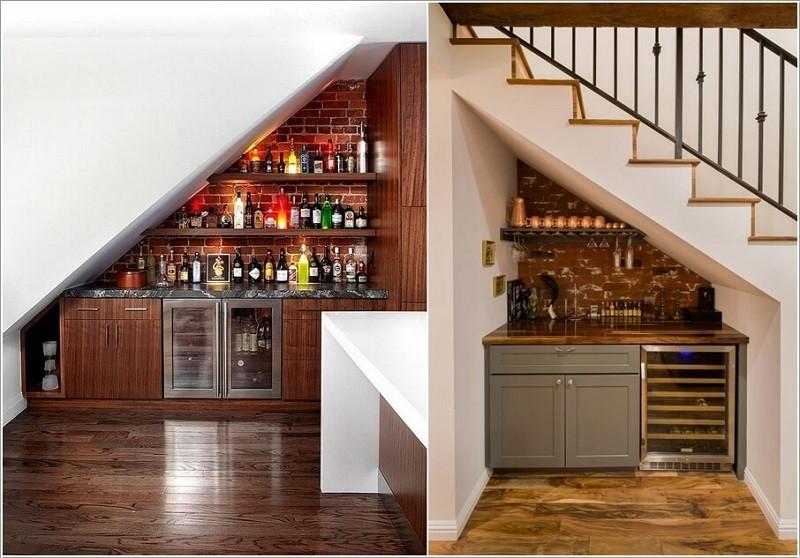 Một quầy bar mini phía dưới cầu thang