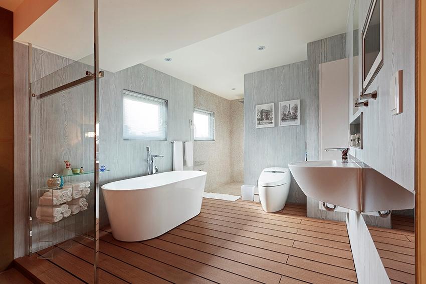 sàn giả gỗ trong phòng tắm