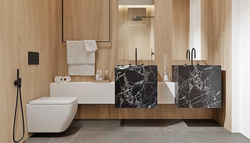 bồn rửa đôi bằng đá cẩm thạch