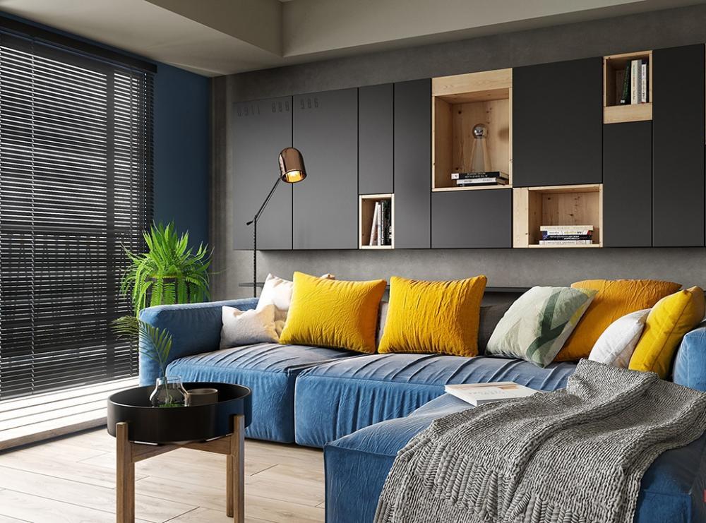 ghế sofa màu xanh dương