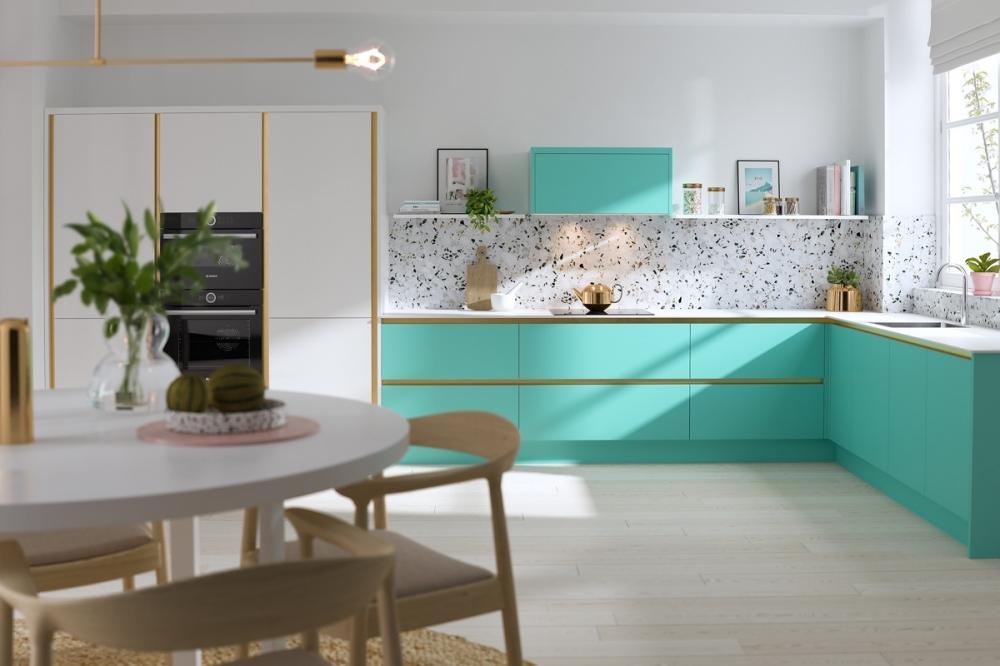 phòng bếp hiện đại sử dụng 3 tông màu trắng, xanh nước biển, gỗ