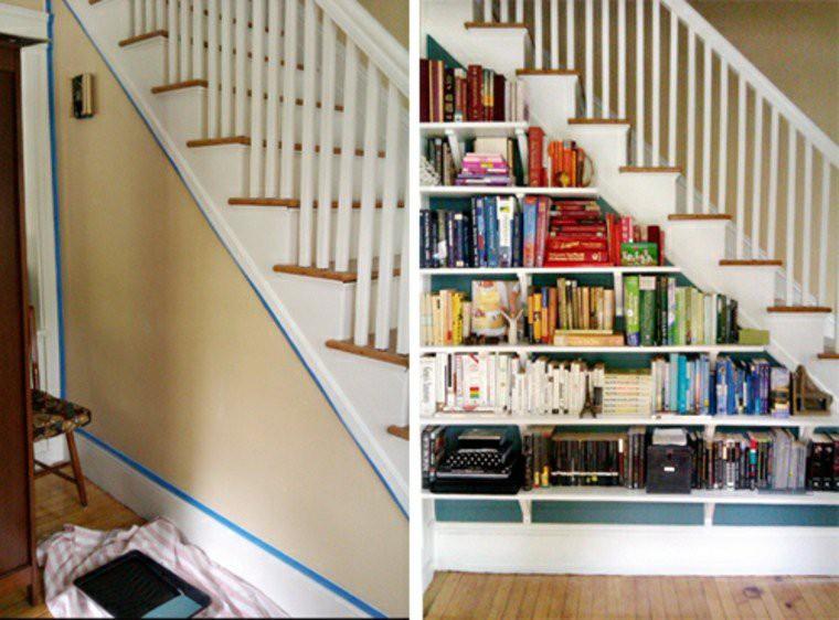 cầu thang kiêm giá sách