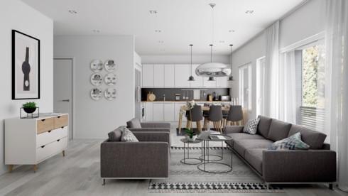 phòng khách và khu bếp tông màu xám - trắng