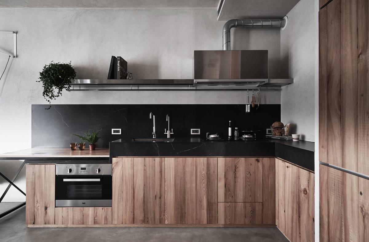 phòng bếp phong cách công nghiệp