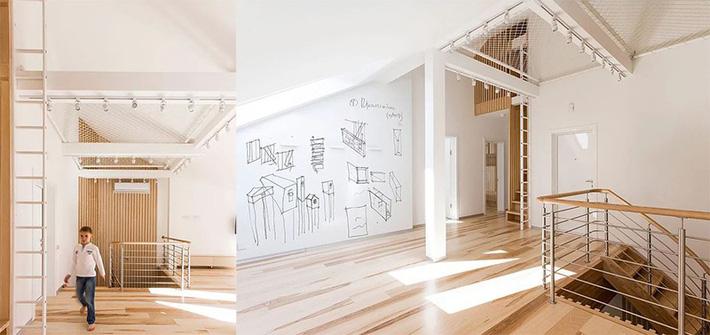 sàn võng phía trên cầu thang