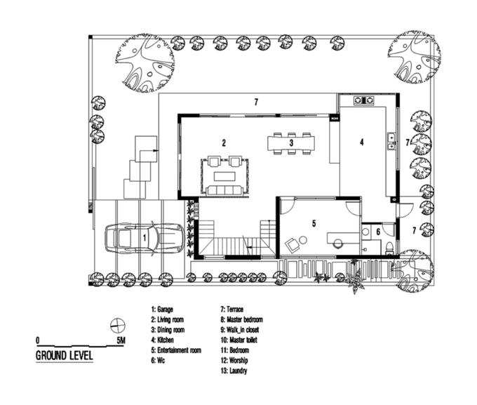 mặt bằng tầng trệt nhà 3 tầng