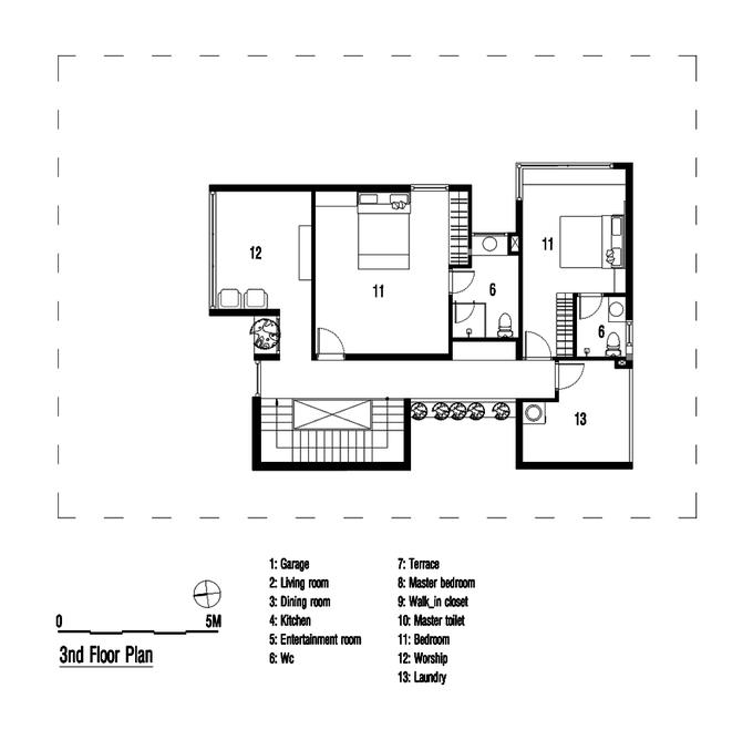 Bản vẽ thiết kế mặt bằng lầu 2