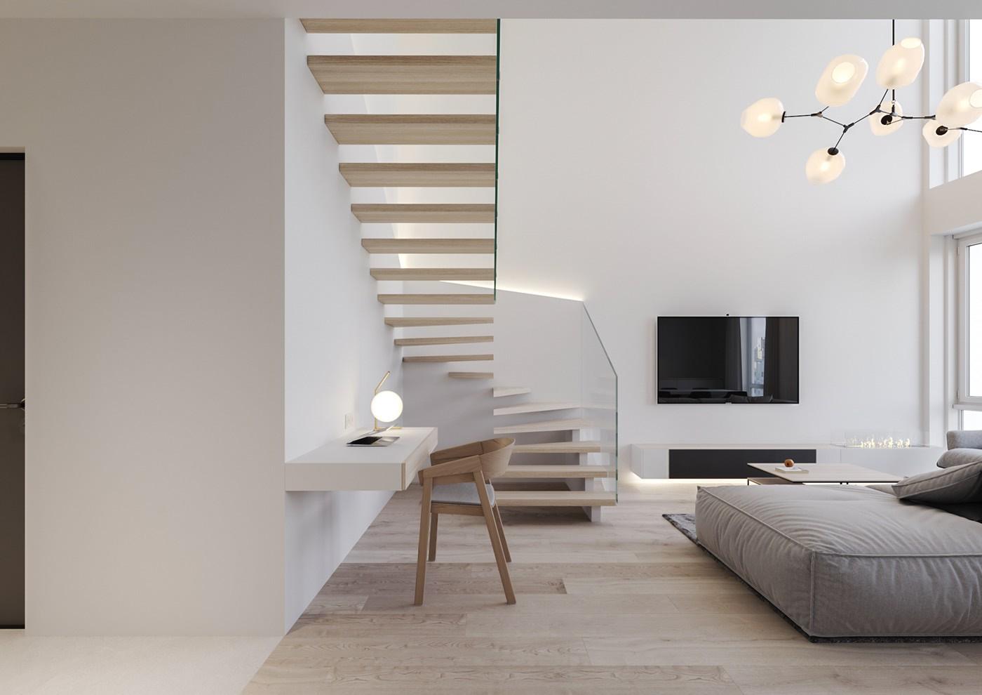 Hình ảnh mọt góc phòng khách với ghế sofa, kệ tivi, cầu thang lên gác lửng, bàn học dưới gầm cầu thang