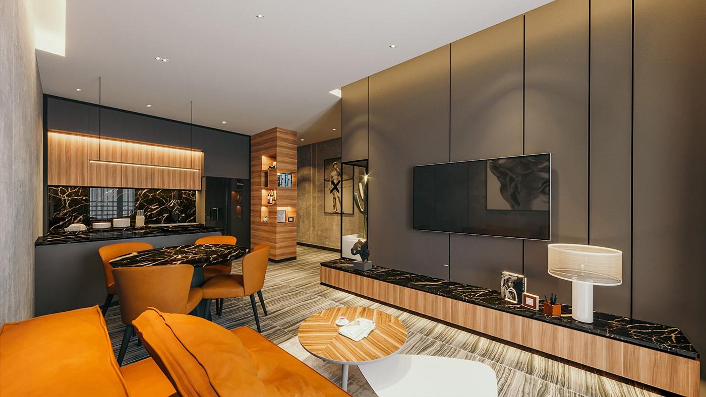 Hình ảnh phòng khách căn hộ với tủ kệ tivi, bàn ăn hình tròn, tường bếp ốp đá
