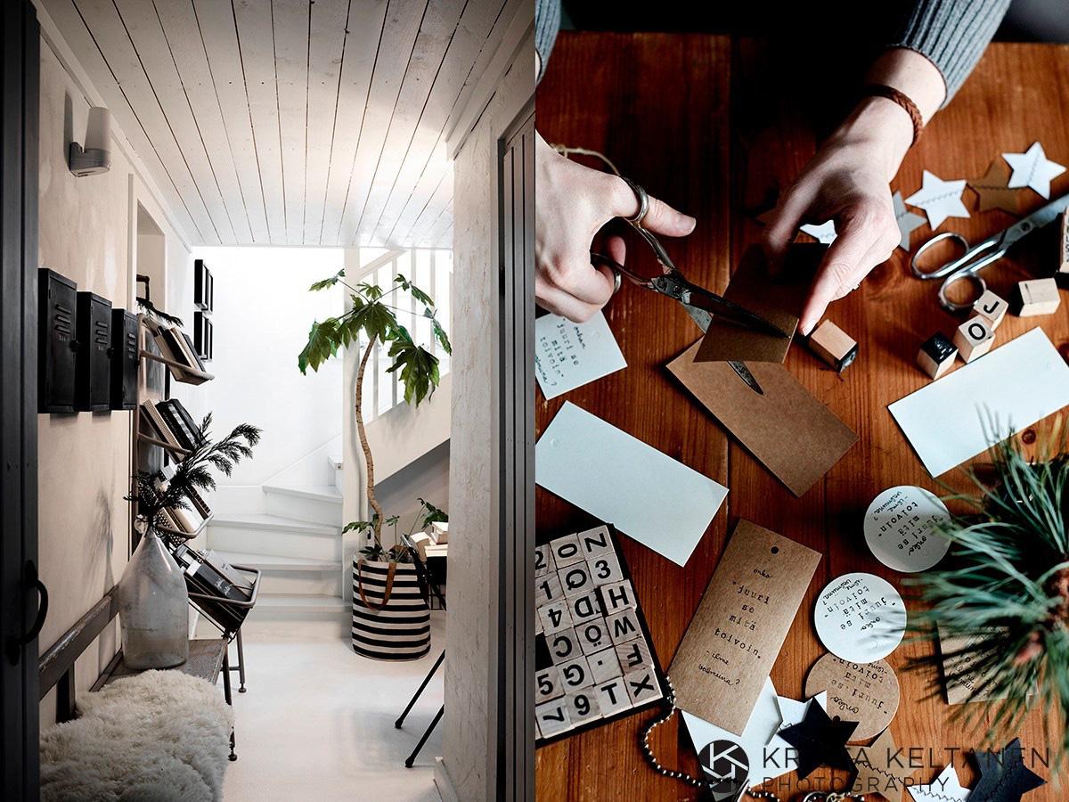 Hình ảnh một góc nhà với cây xanh, bậc câu thang, ghế lót thảm lông, bên cạnh là quá trình làm thiệp treo Noel