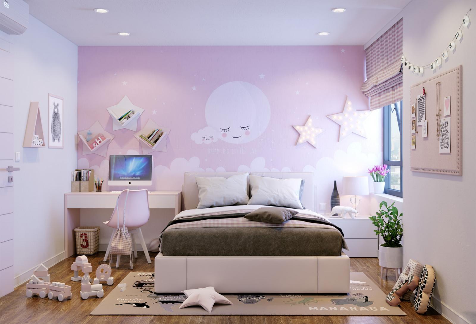 Hình ảnh không gian riêng của cô con gái nhỏ được bài trí với tông màu hồng phấn ngọt ngào.