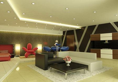 Phòng khách rộng, kết hợp với không gian ngủ mà không cần có sự phân chia chức năng rõ ràng