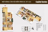 Bán các CH 91 - 109,5 - 111,9 - 130,4 - 134,8m2 tầng đẹp Capital Garden vào tên trực tiếp hợp đồng