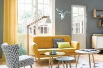 Kết hợp màu vàng và ghi để nhà bạn trang nhã hơn