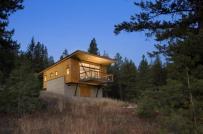 Nhà nhỏ mộc mạc giữa rừng thông