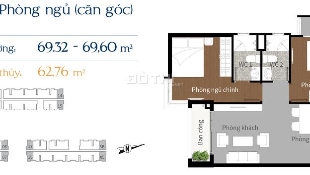 Bán căn hộ giáp Q. 2 giá rẻ, 62m2, 2PN, LH 0915.04.9925 7344105