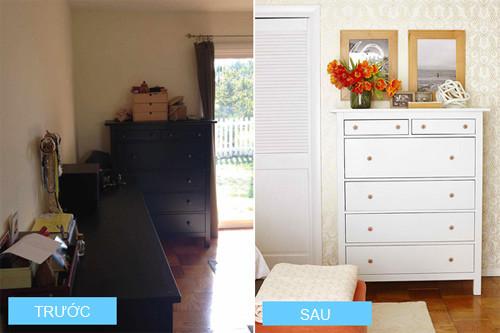 Các tủ đồ được sơn trắng khiến phòng ngủ không còn bị ảm đạm nữa.