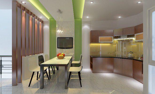 Màu sắc hài hòa, hệ tủ bếp từ chất liệu gỗ.