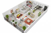 Mẫu thiết kế nội thất căn hộ 2 phòng ngủ dành cho gia đình trẻ