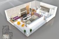 Thích mê mẫu thiết kế nội thất căn hộ 1 phòng ngủ tiện nghi, cá tính