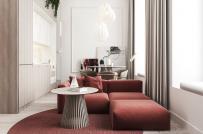 Nội thất màu đỏ và sự yên tĩnh trong căn hộ hiện đại
