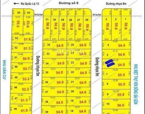Bán đất đường Số 9, Phường Hiệp Bình Phước, ngay Vạn Phúc Riverside, 58m2, giá 3.2 tỷ