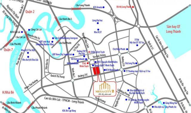 Bán đất nền dự án tại dự án khu đô thị Mega City 2, Nhơn Trạch, Đồng Nai, DT 100m2, 690 tr