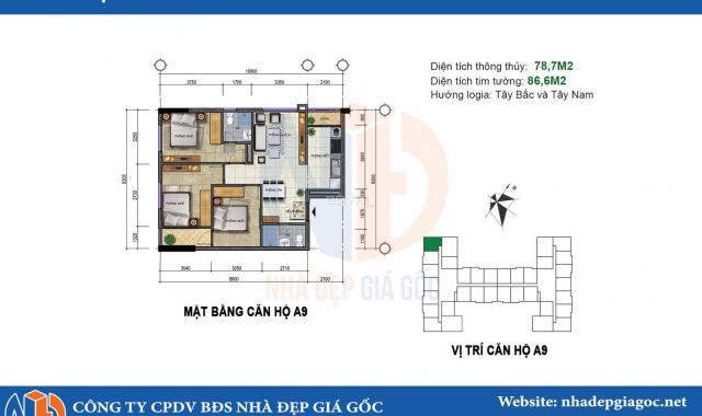 Bán gấp căn hộ 282 Nguyễn Huy Tưởng 2 PN, 70m2, giá 1.68 tỷ, LH: 0967544333