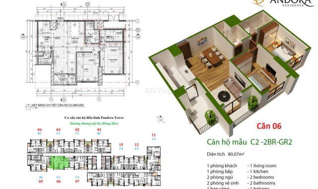 CK 5% căn hộ Pandora Thanh Xuân đẹp không góc chết, phòng nào cũng có ánh sáng, chỉ 2.1 tỷ/ 2PN